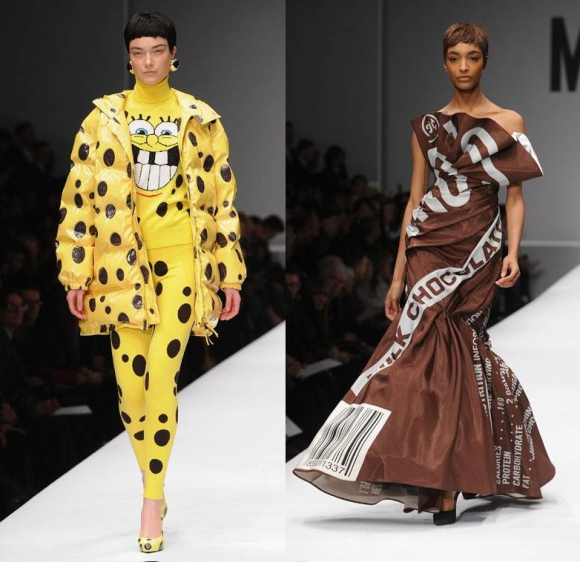 La moda de alta gama se inspira en personajes como Bob Esponja y productos de consumo masivo como el chocolate Hershey's. Foto: Google Images.
