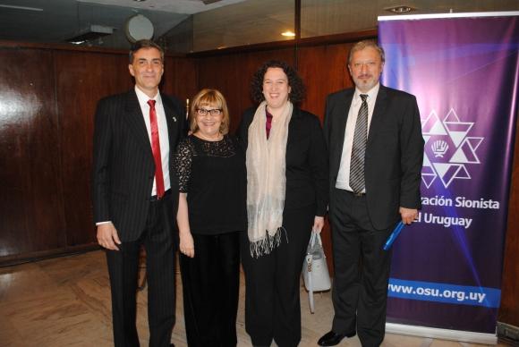 Sergio Dodel, Karin Schubert, embajadora de Israel Nina Ben-Ami, Gerardo Sotelo.