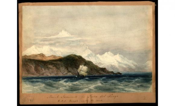 El H.M.S. Beagle en Tierra del Fuego, acuarela de Conrad Martens.