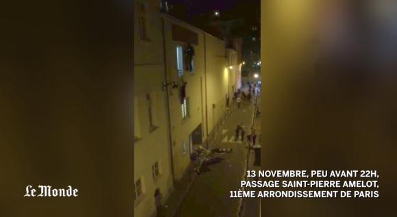 Escape de rehenes de Bataclan. Captura de video de Le Monde.