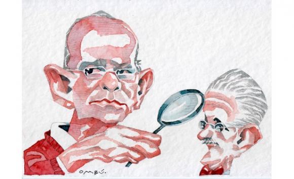 Marcelo Zabaloy y James Joyce, dibujo de Ombú.