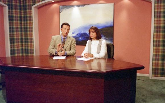 Con Gerardo Sotelo en 1995, en Canal 4, su primer trabajo en TV.