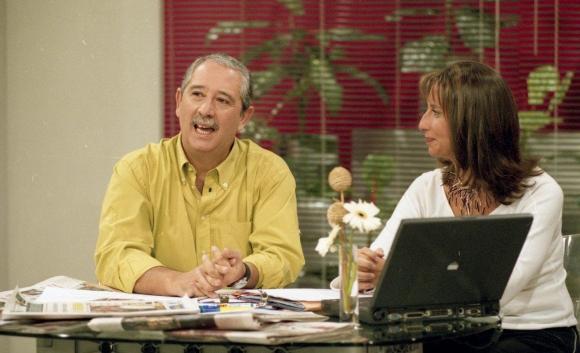 Con Sergio Puglia en la mañana de Canal 10, en 2004