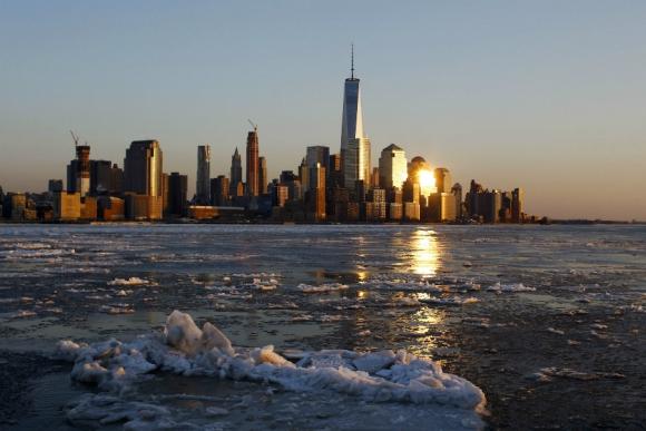 Río Hudson congelado. Foto: AFP