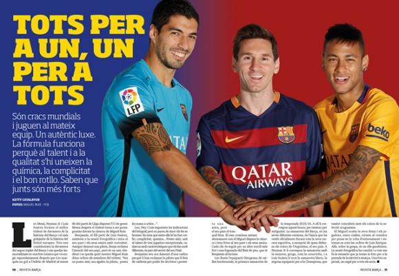 Suárez, Messi y Neymar en la revista del Barcelona