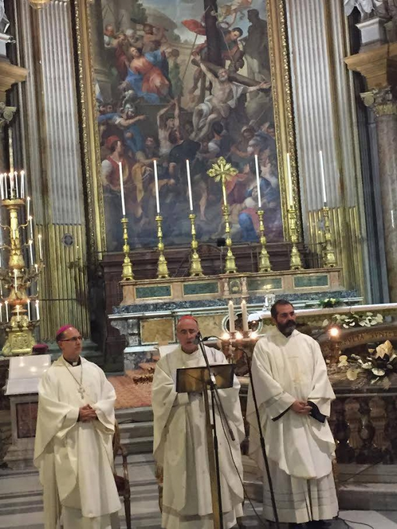 Cardenal Sturla en la misa para uruguayos. Foto: @gonzaloaemilius
