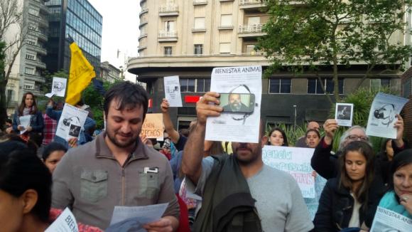 Martínez con bozal en el celular de uno de los manifestantes. Foto: M. Eugenia Lima