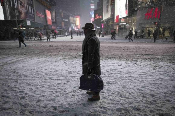 La tormenta en Times Square. Foto: Reuters.