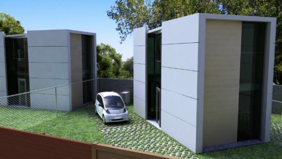 Proyecto de casas prefabricadas en Malvín (foto gentileza Pablo Falero)