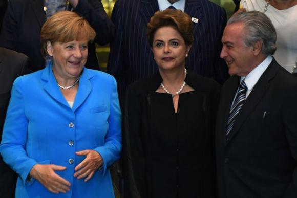 Visita de Angela Merkel a Dilma Rousseff. Foto: AFP.
