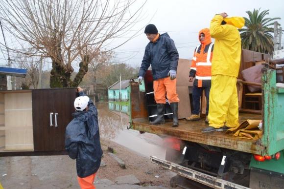 Inundaciones y evacuados en Durazno. Foto: Víctor D. Rodríguez.