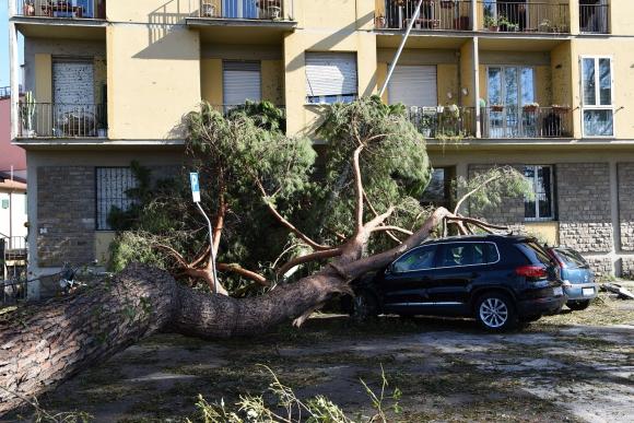 Un tornado dejó decenas de heridos y daños materiales en las calles de Florencia. Foto: AFP