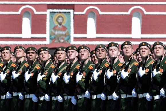 Ensayo de las Fuerzas Armadas rusas para el desfile del sábado. Foto: AFP