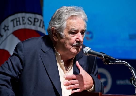Mujica en la Cámara de Comercio de Estados Unidos. Foto: AFP