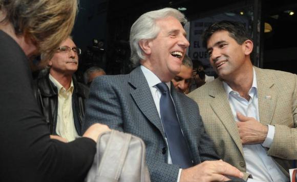 2014. Sendic y Vázquez en la sede de la Lista 711. Foto: Archivo El País.