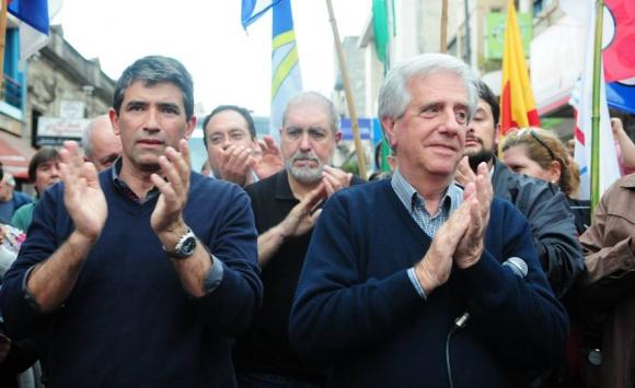Vázquez y Sendic en campaña electoral. Foto: Archivo El País.