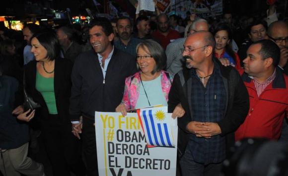 Sendic en marcha en apoyo a Nicolás Maduro. Foto: Archivo El País.