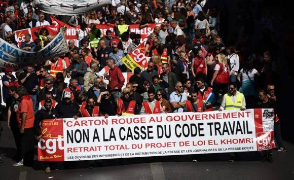 Manifestaciones contra la reforma laboral de Macron. Foto: AFP.