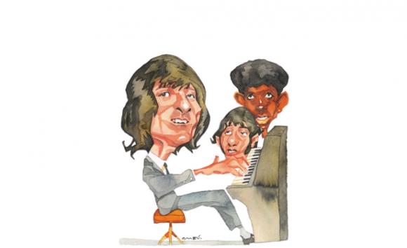 Hugo Fattoruso, Osvaldo Fattoruso y Ruben Rada. Dibujo de Ombú