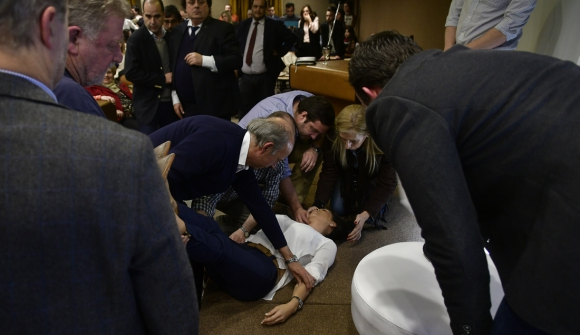 La senadora Alonso sufrió un vahído durante un acto nacionalista. Foto: F. Ponzetto