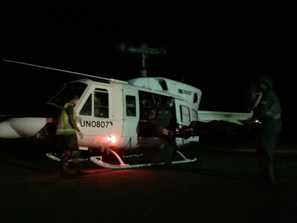 La Fuerza Aérea Uruguaya desplegó helicópteros para el rescate de los heridos. Foto: Fuerza Aérea Uruguaya