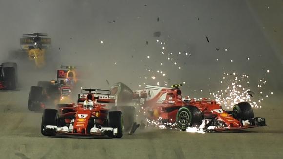 Accidente de Verstappen, Raikkonen y Vettel