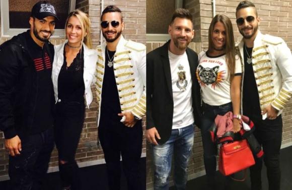 Luis Suárez, Lionel Messi, Sofía Balbi y Antonella Roccuzzo fueron a ver el concierto de Maluma