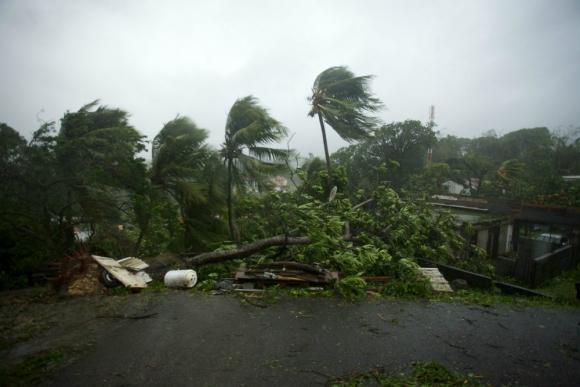 Los vientos del huracán María ya se sienten en Guadalupe. Foto: AFP.