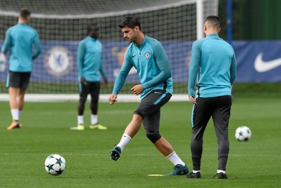Álvaro Morata en el entrenamiento del Chelsea