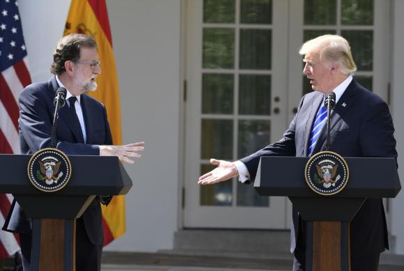 Rajoy y Trump en un momento de la conferencia de prensa en la Casa Blanca. Foto: AFP