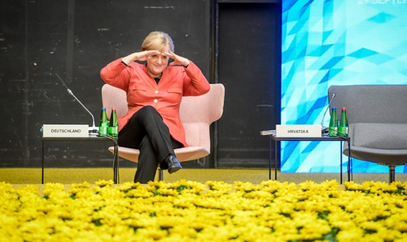 Merkel: la recientemente electa canciller alemana en un evento de la UE en Estonia. Foto: AFP