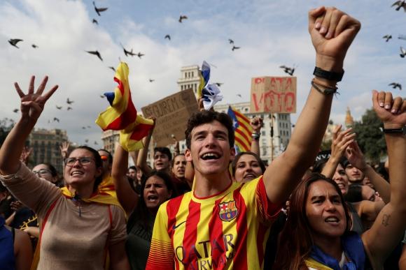 Protestas en Barcelona. Foto: Reuters