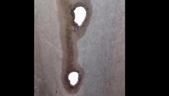 El granizó causó daños en techos, en algunos casos con pérdidas totales. Foto: Gentileza del lector