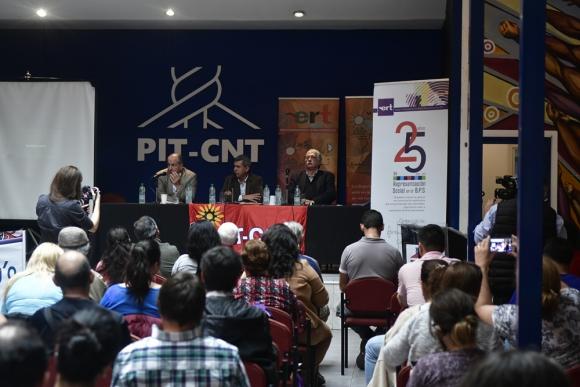 Ayer en el Pit-Cnt se conmemoraron 25 años de representación social en el directorio del BPS. Foto: F. Ponzetto