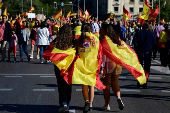 Jóvenes en manifestación nacionalista. Foto: AFP.