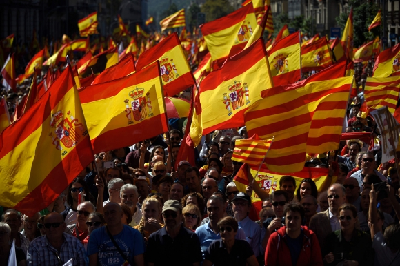 Manifestaciones en Barcelona en apoyo a la unión de España. Foto: AFP