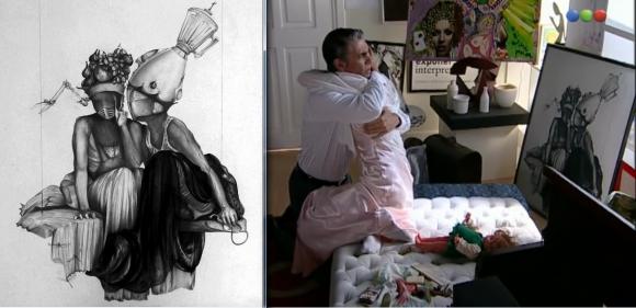 """Izquierda: """"Blanchefleur et Elena"""", la obra original. Derecha: Escena de """"El Elegido"""" donde aparece su reproducción."""