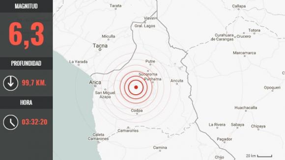 La región del sismo. Foto: Emol | GDA
