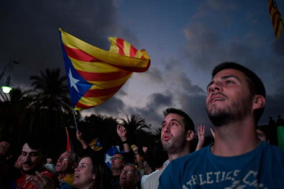 Independentistas catalanes. Foto: AFP.