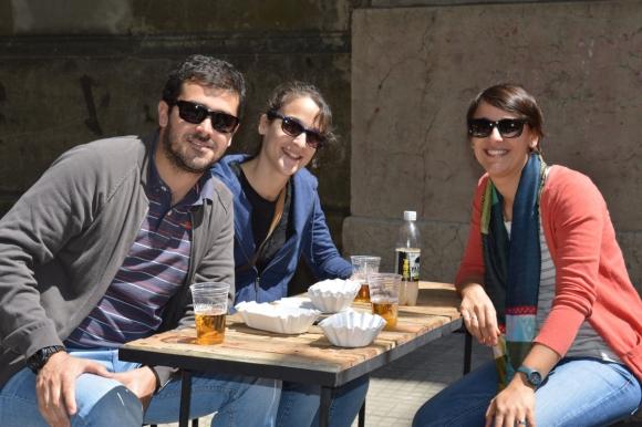 Adrián Segredo, Paola y Valeria Regueira.