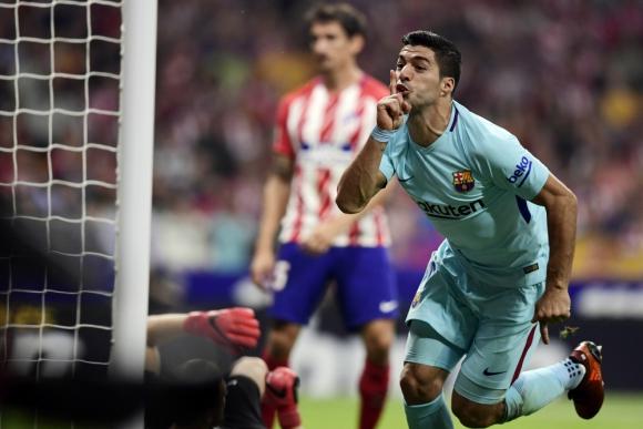 El festejo de Luis Suárez contra Atlético de Madrid. Foto: AFP
