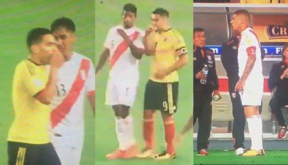 Las conversaciones entre jugadores de Colombia y Perú. Foto: Captura