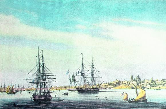 Año 1830: Barcos en la bahía cargaban miles de cueros para Europa. Foto: El País