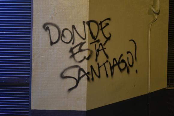 Pintado en Montevideo sobre el caso Santiago Maldonado. Foto: Fernando Ponzetto.