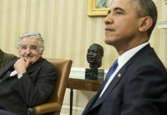 José Mujica y Barack Obama en la Casa Blanca, en 2014. Foto: AFP.