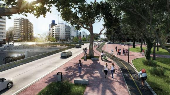 Parque Batlle: el futuro túnel que se hará. A la derecha de la imagen se ubica el Estadio Centenario. Foto: IMM