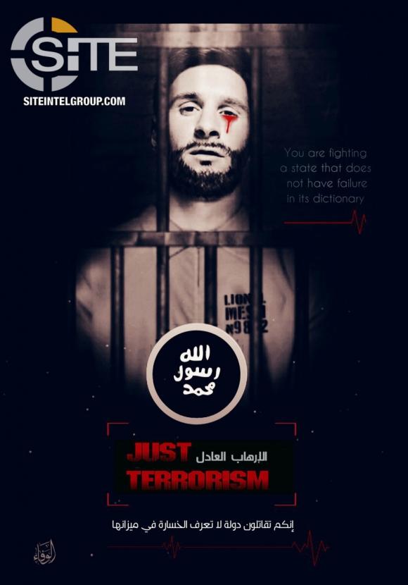 El afiche con la amenaza de ISIS a Lionel Messi.
