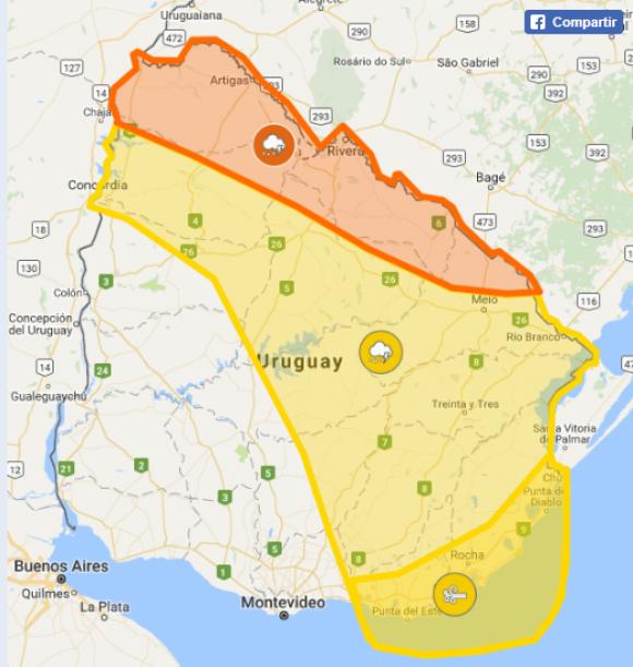 Inumet emitió advertencia naranja y amarilla por lluvias y vientos. Foto: Captura