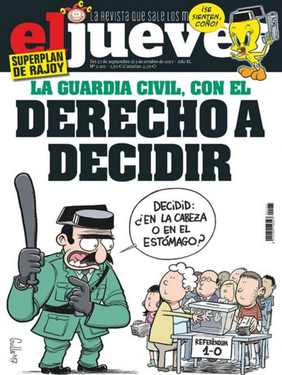 Una de las portadas de El Jueves críticas con el accionar policial. Foto: El Jueves.