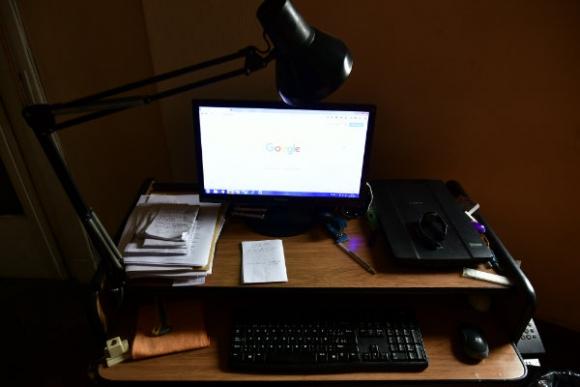El escritorio de Elvio Gandolfo. Foto: Fernando Ponzetto